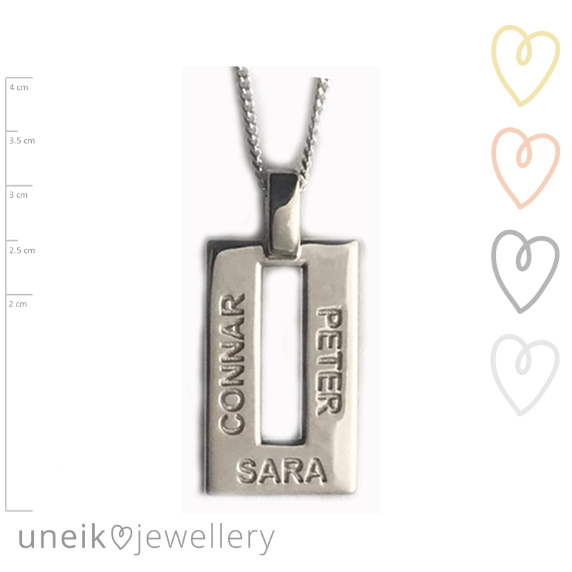Uneik jewelleryrectangle name jewellery customised in 9ct gold and family name pendant made in australia aloadofball Image collections